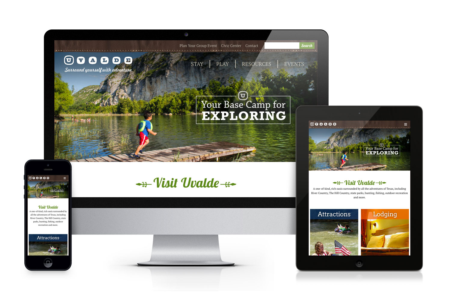 Uvalde Tourism responsive website design
