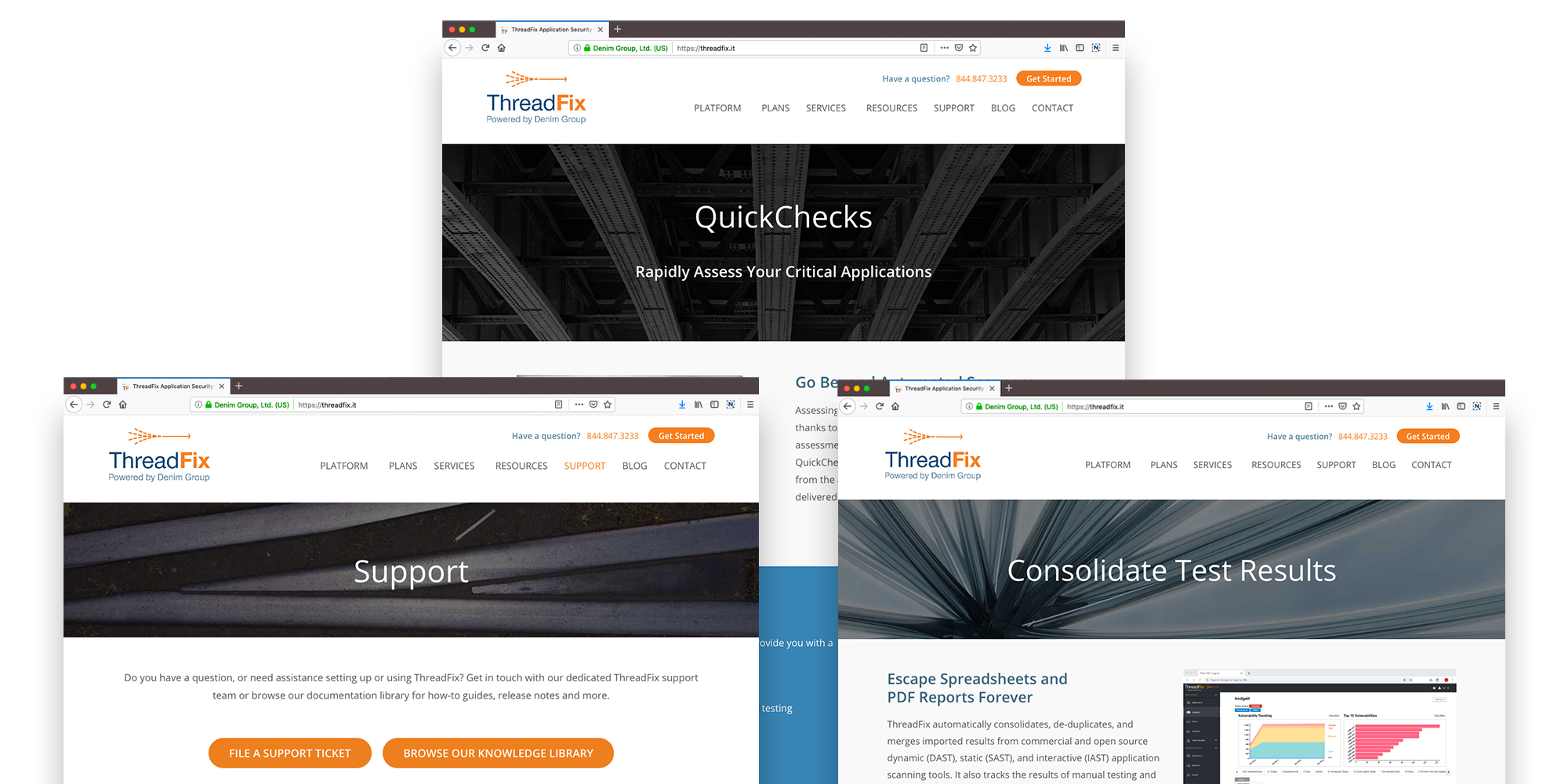 ThreadFix Header Images Website Design