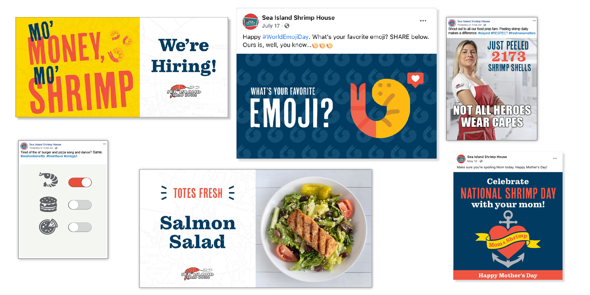 Millennial social posts for seafood restaurant chain